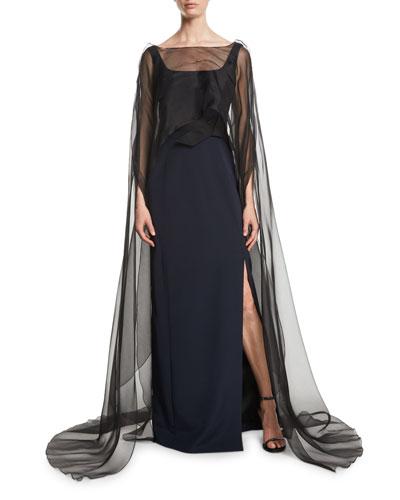 Square-Neck Sleeveless Column Evening Gown w/ Organza Cape