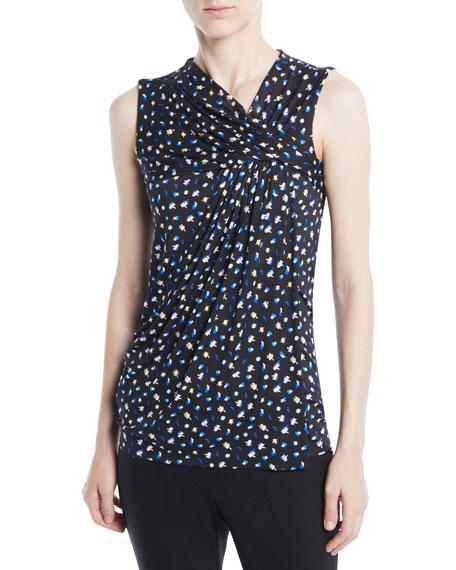 Sleeveless Mini Floral-Print Jersey Top