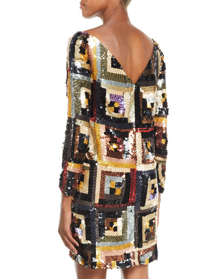 Boat-Neck Long-Sleeve Hand-Sequin Shift Cocktail Dress