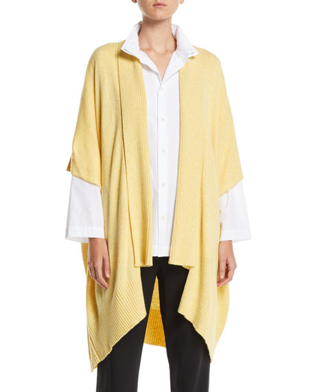 Ribbed Shawl-Collar Open-Front Tabard Cardigan
