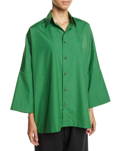 Dropped-Shoulder Button-Front Cotton Shirt