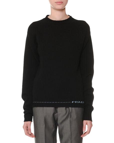 PRADA Logo-Hem Cashmere Sweater - Black Size 46 It in Blue