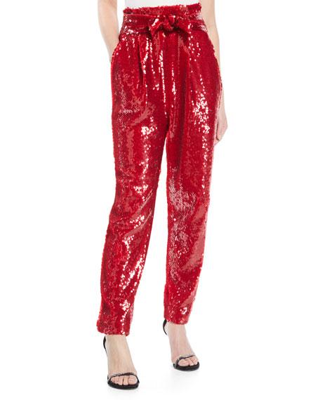 19bd1f4c Sally LaPointe High-Waist Straight-Leg Sequin Pants