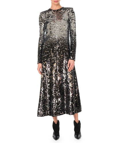 Long-Sleeve A-Line Sequined Embroidered Long Cocktail Dress
