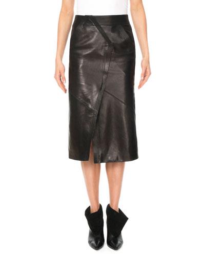 Geometric Seamed Sheep Leather Midi Skirt