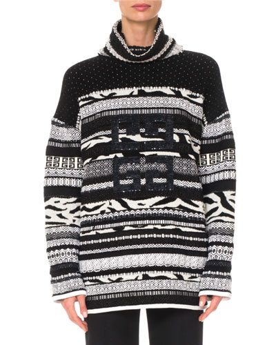 Zebra-Intarsia Sparkle 4-G Turtleneck Wool Sweater