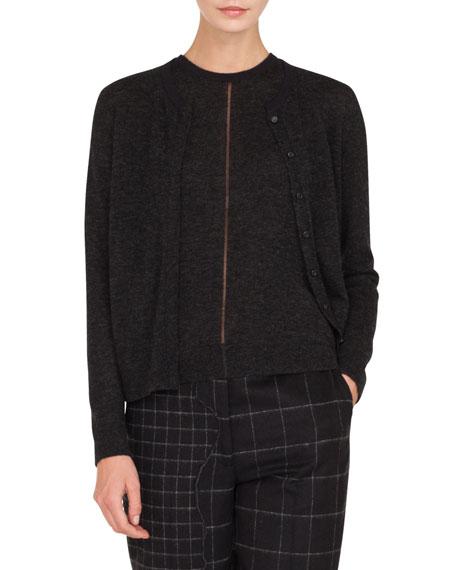 Round-Neck Button-Front Cashmere-Silk Melange Knit Cardigan