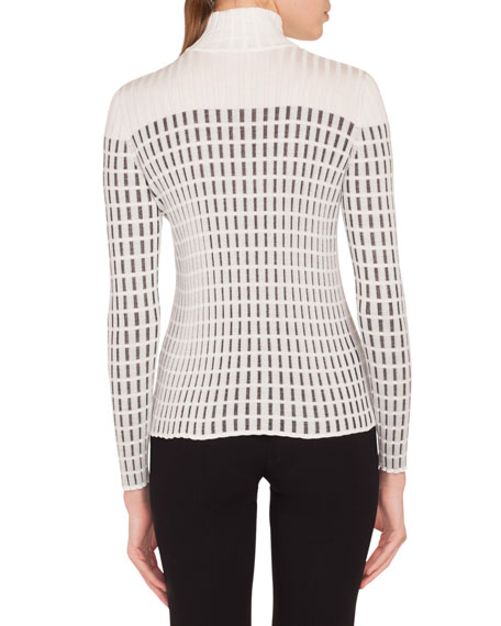 Mock-Neck Long-Sleeve Hotel Facade Embroidery Knit Pullover Sweater