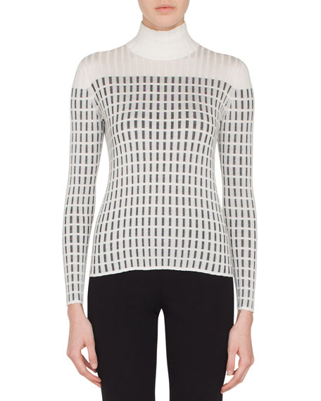 Akris Mock-Neck Long-Sleeve Hotel Facade Embroidery Knit Pullover