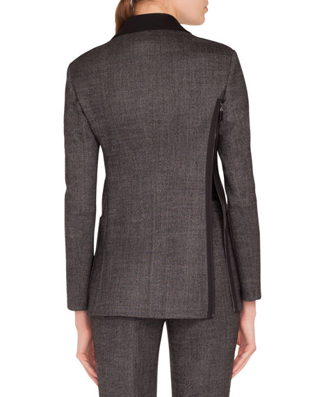 Sean Zip-Front Stretch-Wool Tweed Jacket w/ Patch Pockets