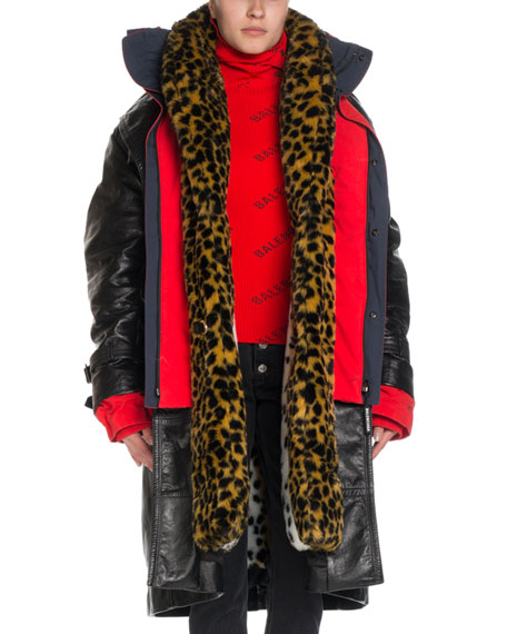 Image 1 of 1: Layered Leather & Leopard-Print Hooded Trench Coat