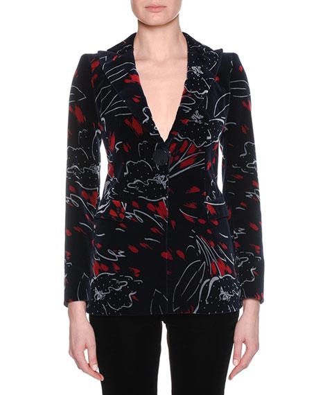 Giorgio Armani One-Button Abstract-Print Velvet Jacket