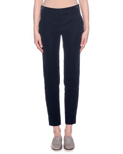 Skinny-Leg Cropped Stretch-Velvet Pants