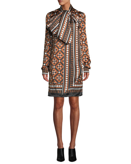 Lyonel Long-Sleeve Tile-Print Cocktail Dress w/ Large Bow Detail