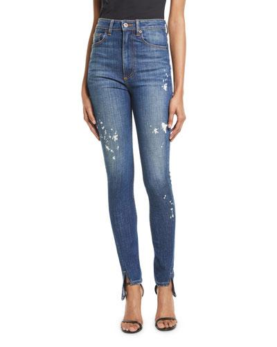 Beth High-Waist Curved-Seam Paint-Splatter Skinny-Leg Denim Pants