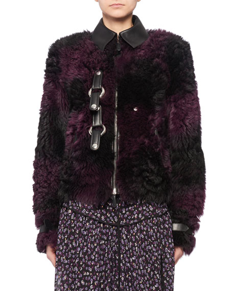 Snap-Front Tie-Dye Shearling Bomber Jacket w/ Leather Trim