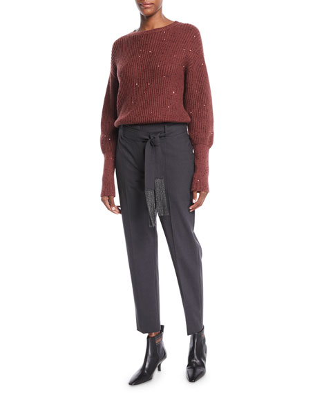 Lightweight Wool Straight-Leg Zip Pants with Monili Tie Belt