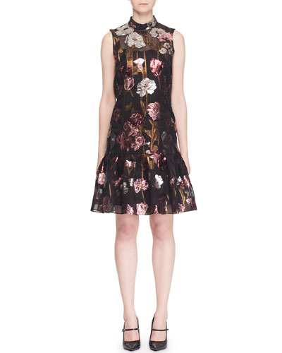 Mock-Neck Sleeveless A-Line Metallic-Floral Dress