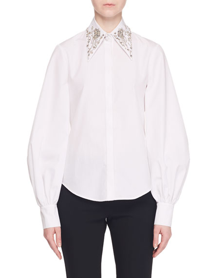 Point-Collar Button-Front Poplin Top