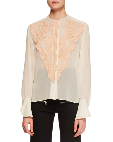 Image 1 of 1: Long-Sleeve Lace-Front Chiffon Blouse