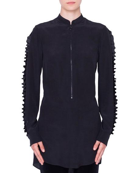 Akris punto Ruffled Mock-Neck & Sleeves Front-Zip Silk