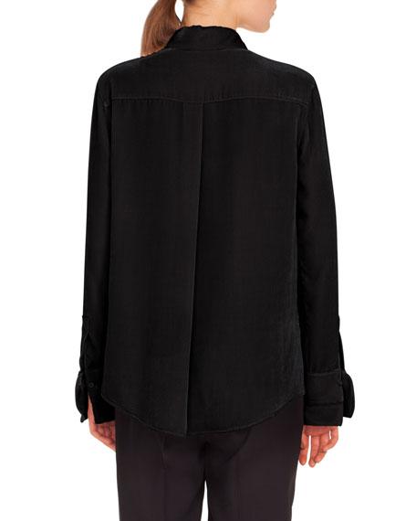 Long-Sleeve Button-Down Scuba Velvet Blouse