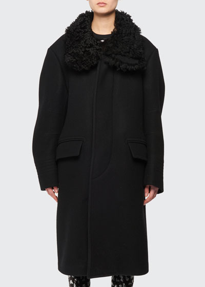 Curly Shearling Collar Felt Wool Coat