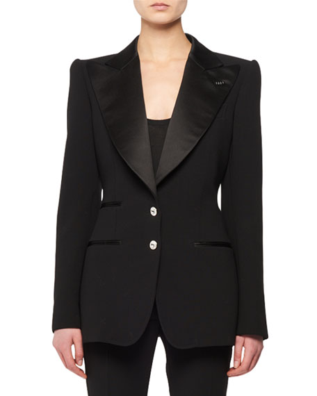 Satin Peak-Lapel Two-Button Wool Tuxedo Jacket w/ Crystal Buttons