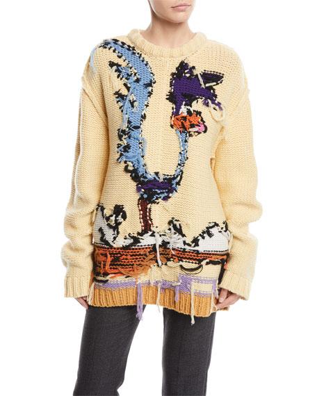 Road Runner Crewneck Inverted-Stitch Wool Sweater