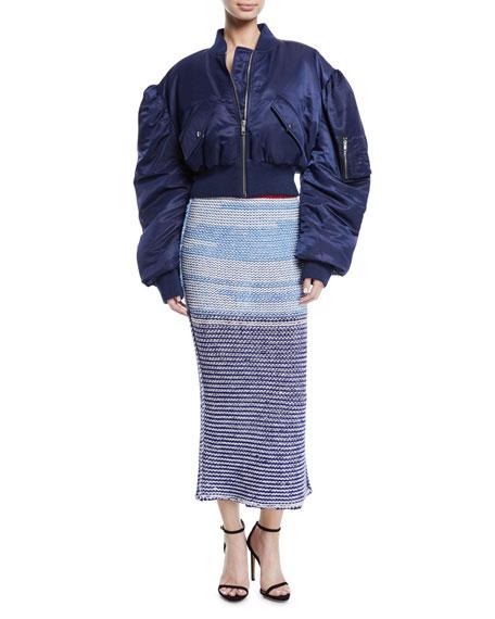 Television-Striped Tweed Wool Tubular Pull-On Skirt