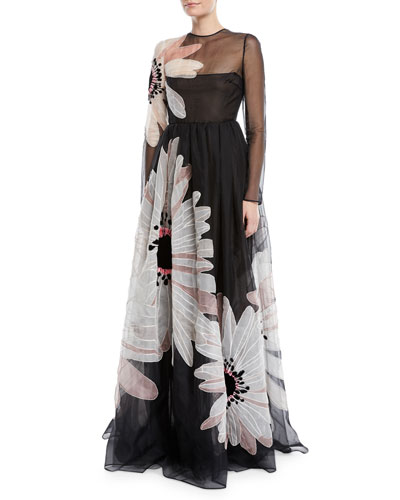 Long-Sleeve Floral-Embroidered Organza Evening Gown