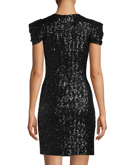 Cap-Sleeve Paillette Sheath Cocktail Dress