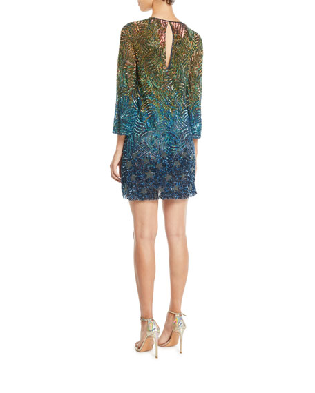 Rigel Jewel-Neck Bell-Sleeve Beaded Patterned Shift Cocktail Dress