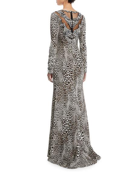 Leopard-Print Long-Sleeve A-Line Evening Gown w/ Beaded Bib