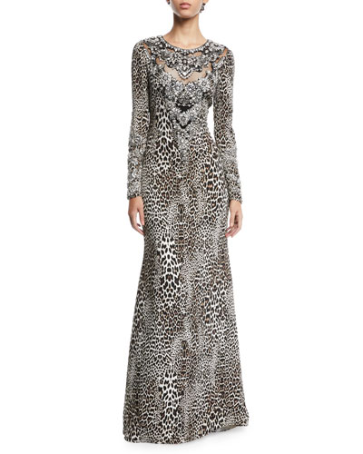 Leopard-Print Long-Sleeve A-Line Evening Gown w/ Beaded Bib
