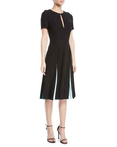 Keyhole-Front Short-Sleeve Pleated Fit-and-Flare Knee-Length Dress
