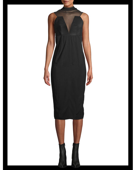 Tulle High-Neck Sleeveless Cady Midi Dress