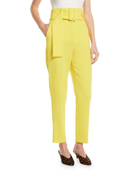 High-Waist Slim-Leg Wool Pants w/ Belt