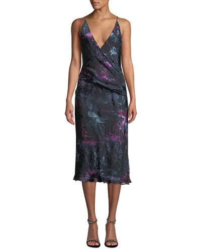 Deep-V Sleeveless Abstract-Print Midi Cocktail Dress w/ Twist Detail
