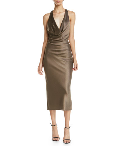 Cowl-Neck Sleeveless Racerback Pencil Cocktail Dress