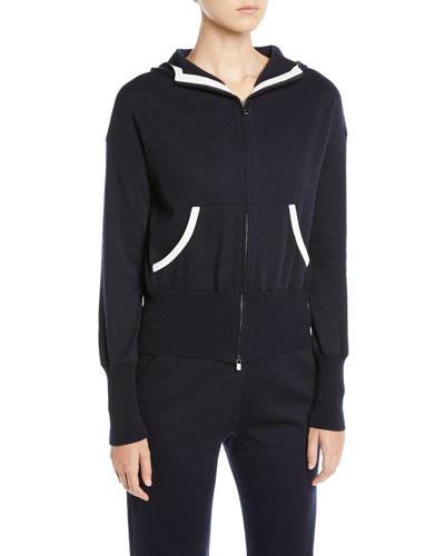 Zip-Front Hooded Cashmere-Blend Jacket w/ Contrast Trim