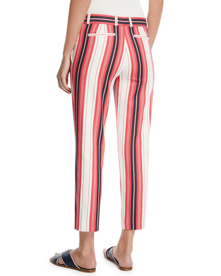 Striped Cotton Skinny Cropped Pants