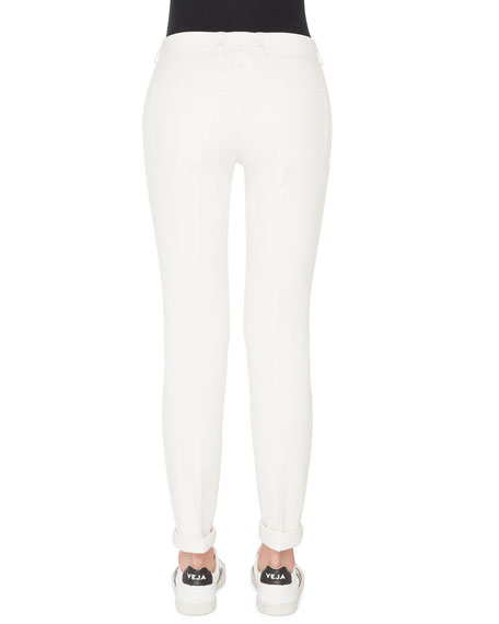 Mid-Rise Slim-Leg Cotton-Silk Denim Pants