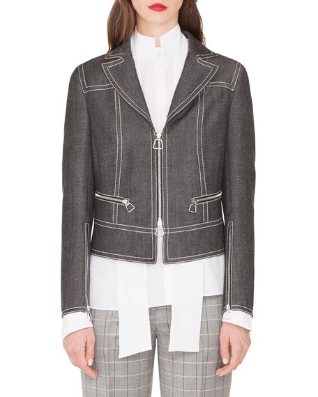 Akris Aaron Short Zip Front Cotton Denim Jacket