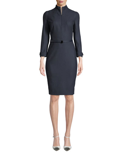 Long-Sleeve Flannel Zip-Front Belted Dress