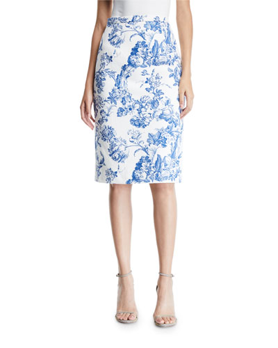 Toile Print Pencil Skirt