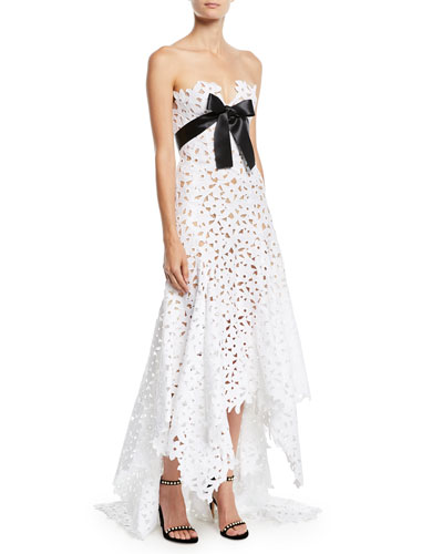 Strapless Eyelet-Lace Evening Gown w/ Satin Bow