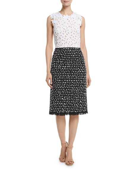 Image 1 of 1: Floral-Lace Top & Ribbon-Tweed Skirt Midi Day Dress