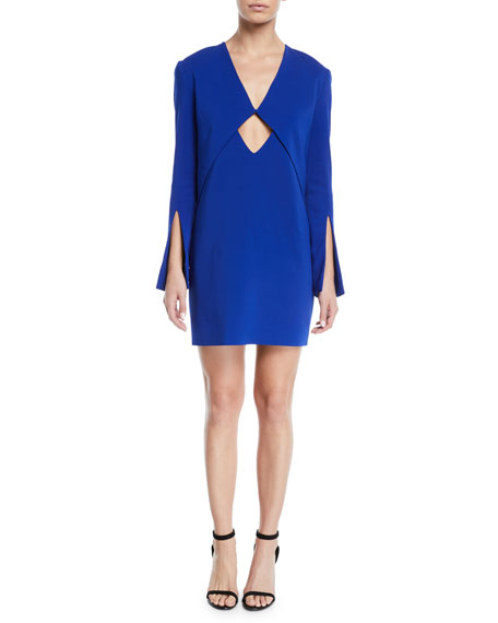 Cutout-Waist V-Neck Split-Sleeves Cady Mini Dress