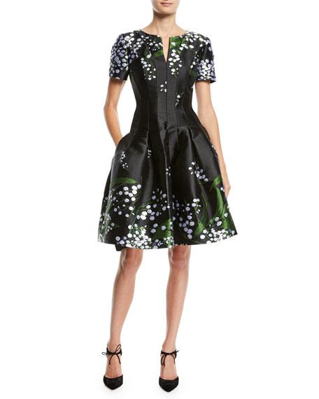 Short-Sleeve Split-Neck Fit-and-Flare Floral-Embroidered Dress